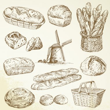 Bakery, bread - hand drawn set