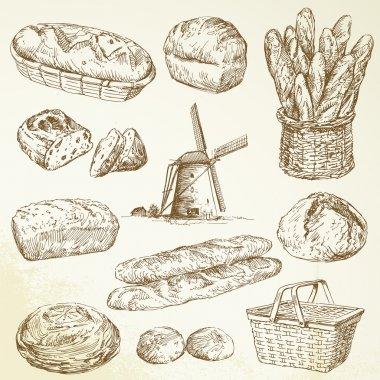 Bakery, bread - hand drawn set