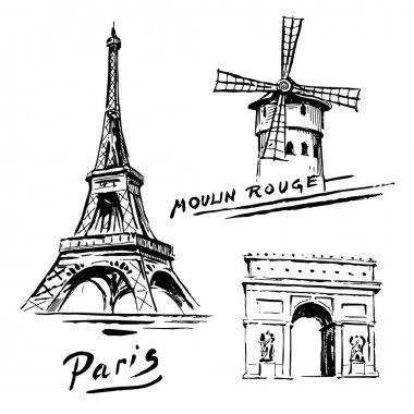 Paris, France - Eiffel Tower - hand drawn collection