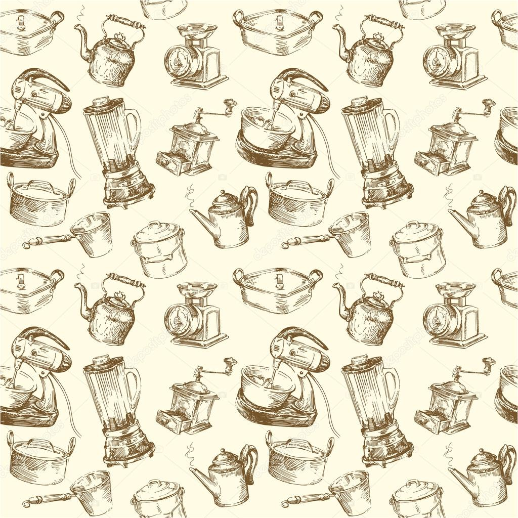 Kitchen Utensil Wallpaper Kitchen Utensils Cookware Seamless