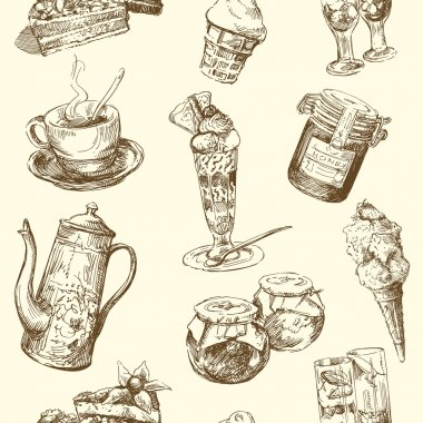 Sweets, coffee, ice cream - seamless pattern