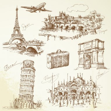 Travel over Europe - hand drawn collection stock vector