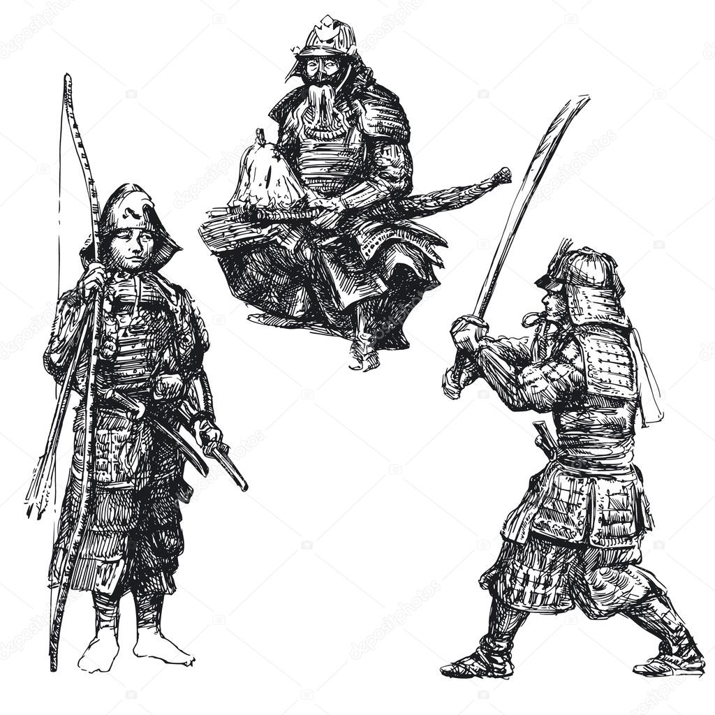 Japanese Warrior Samurai Stock Vector C Canicula 13784180
