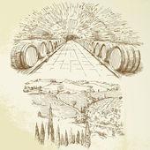 Vinice - sada ručně kreslenou