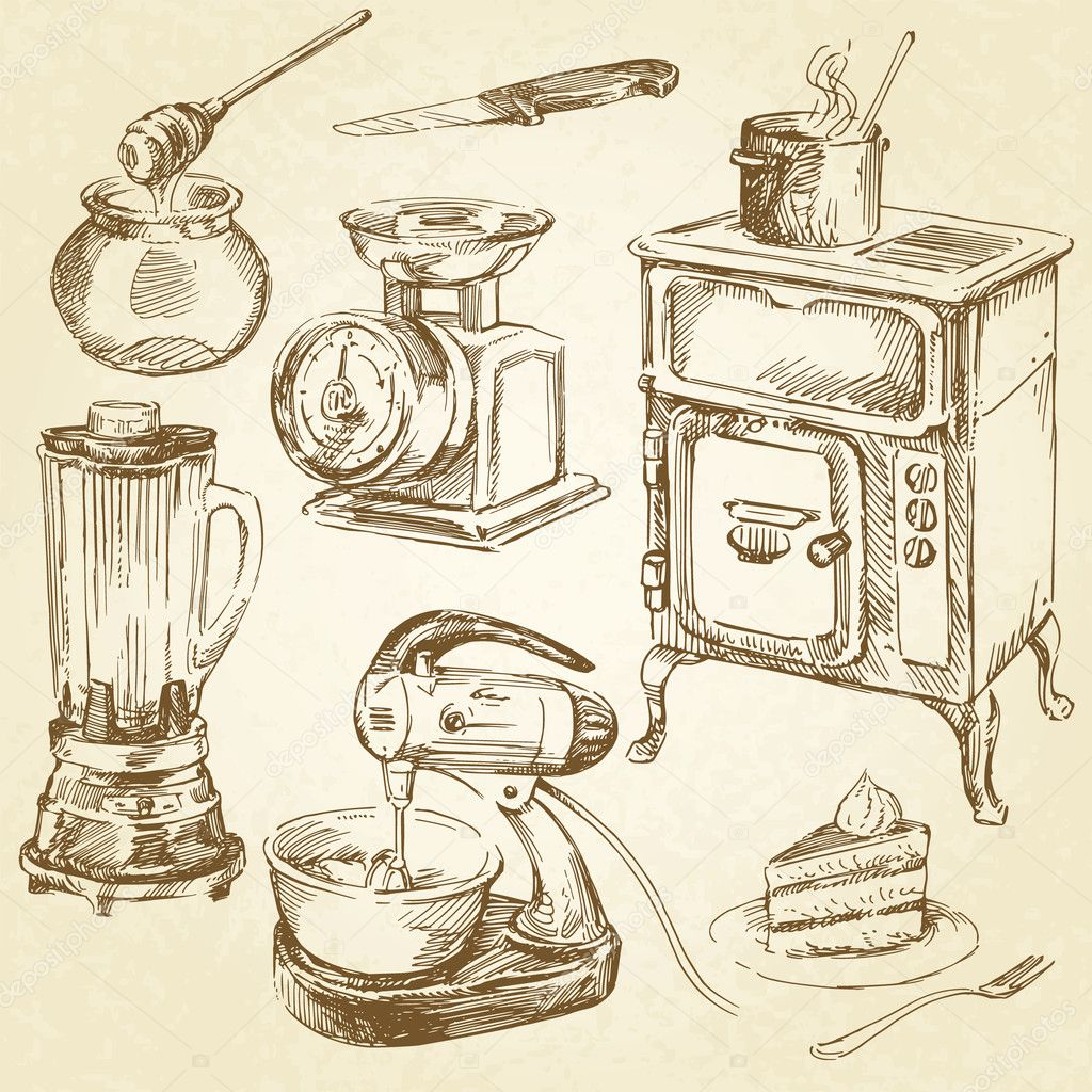 Retro Kitchen Illustration: Vintage Cookware, Kitchen Utensil