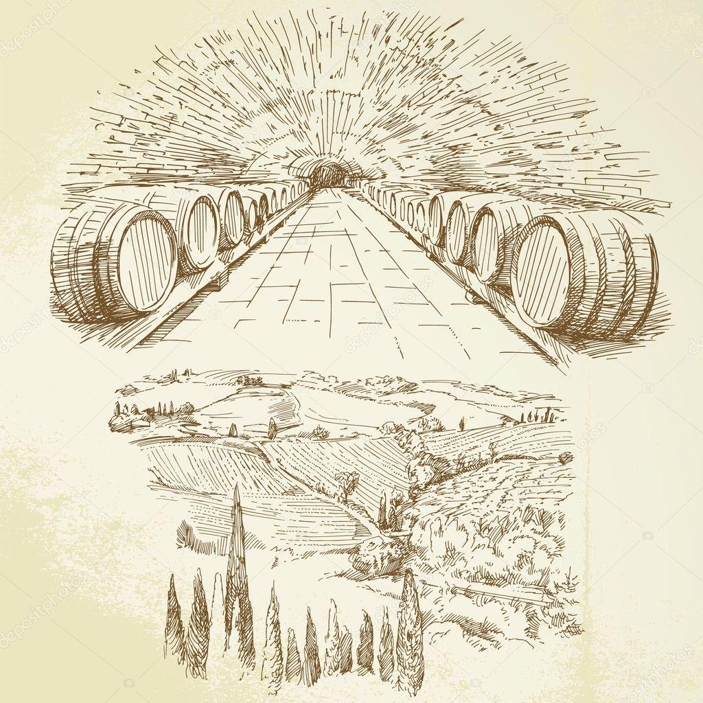 Vineyard - hand drawn set