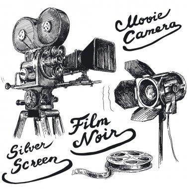 Movie camera-original hand drawn collection stock vector