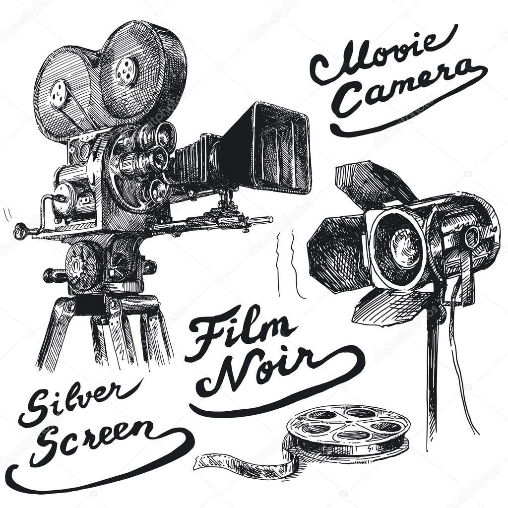 Movie camera-original hand drawn collection