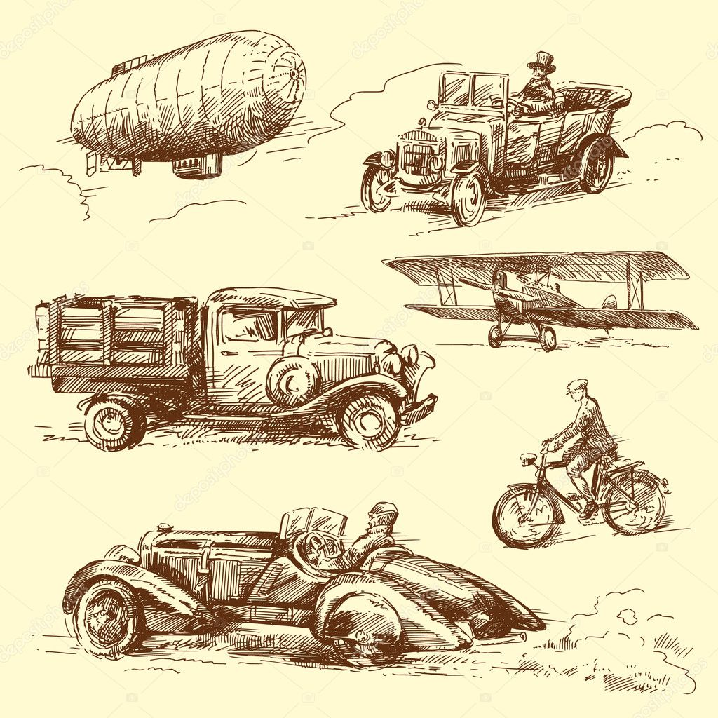 Old vehicles — Stock Vector © canicula #14145547
