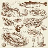 Fényképek Kézzel rajzolt tenger élelmiszer