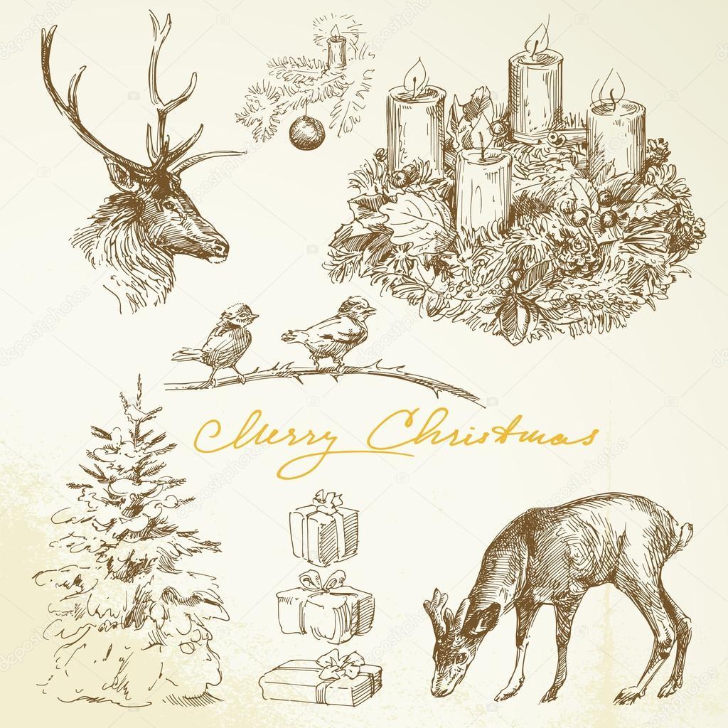 Hand drawn Christmas card with advent wreath — Stock Vector ...