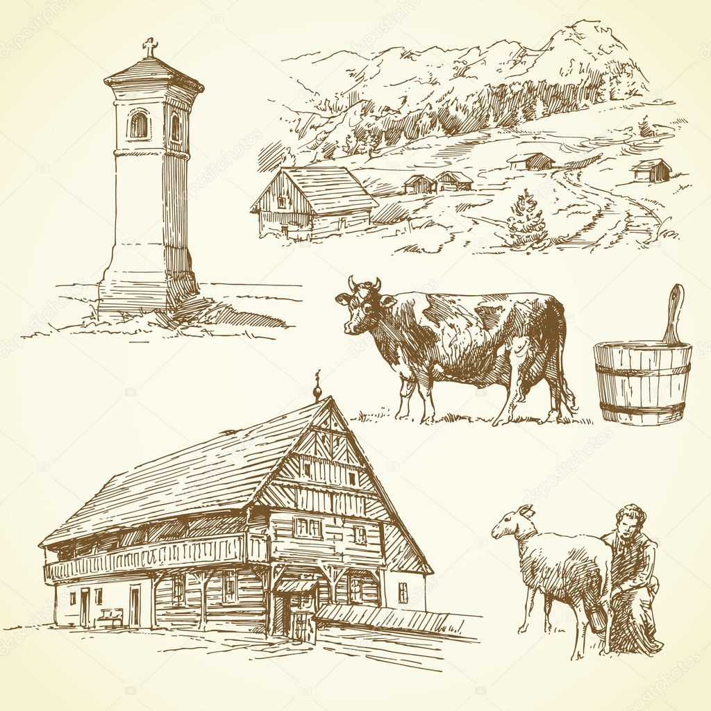 Rural landscape, agriculture - hand drawn collection