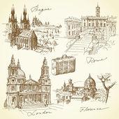 cestování po Evropě - ručně tažené kolekce