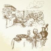 Fotografia Toscana, vino - collezione disegnata a mano