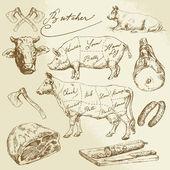 Fényképek sertés- és marhahús darabok - kézzel rajzolt gyűjtemény