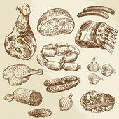 Fényképek hús - kézzel rajzolt gyűjtemény