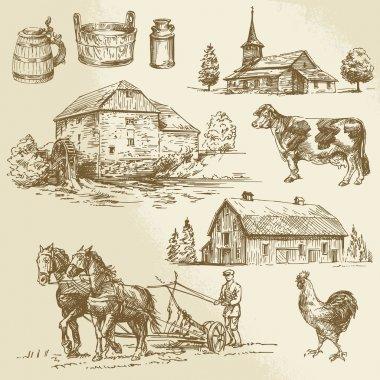 rural landscape, farm, hand drawn watermill