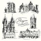 Praha - ručně tažené ilustrace