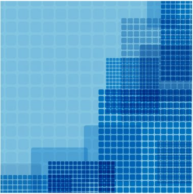 blue squares of different size on a green background