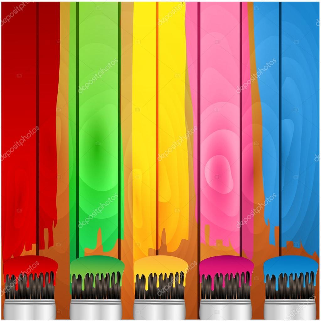 Rayas de colores de pintura y pincel en una tablas de for Tabla de colores de pintura