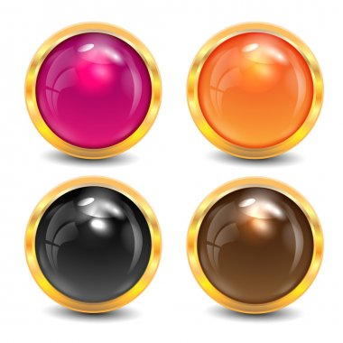 coloured buttons are in a gold frame