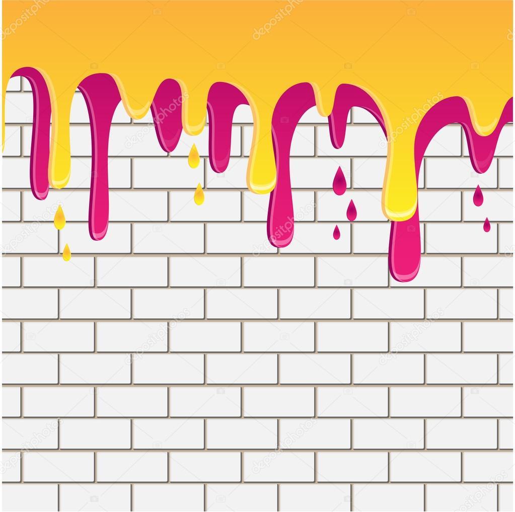 노란색과 라일락 페인트 흰색 벽돌 벽에 아래로 흐르는 — 스톡 ...