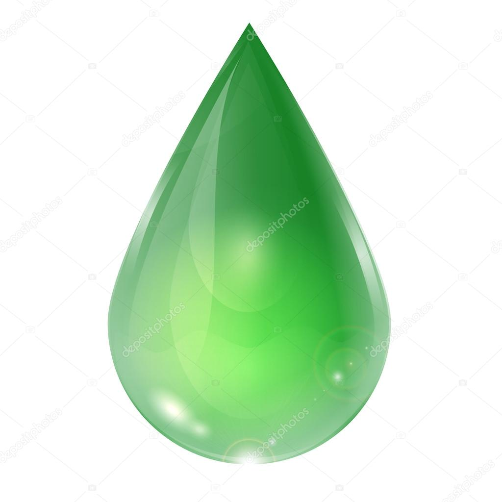 drop of green on a white background