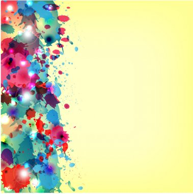 multicolored paint spots on a yellow background