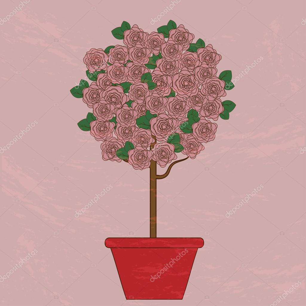 Tree with pink flowers in a flower pot on a pink background.vect