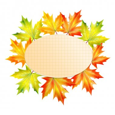 Background with autumn leaves and sheet of paper into a cell.aut
