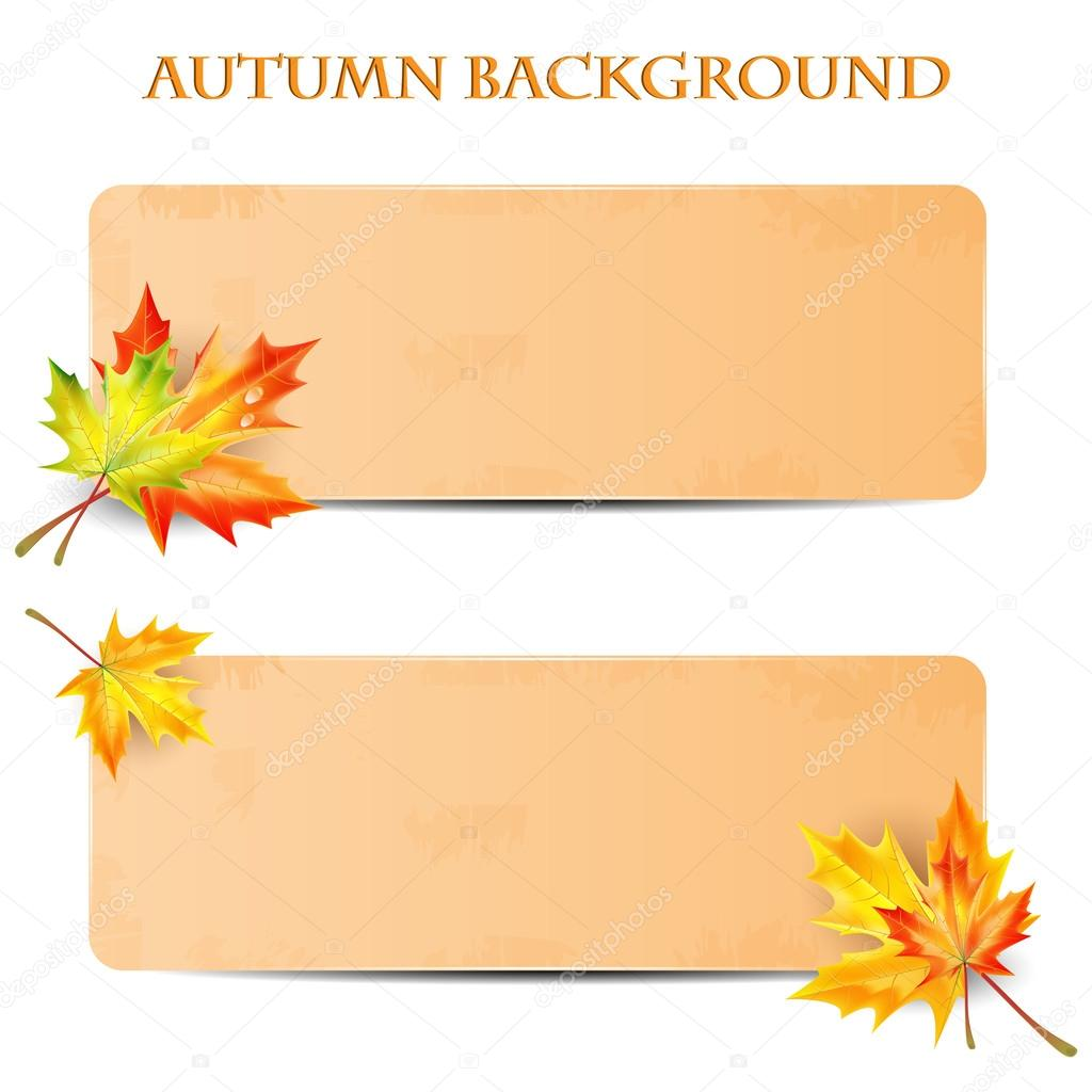 background with autumn leaves and sheet of paper into a cell.au