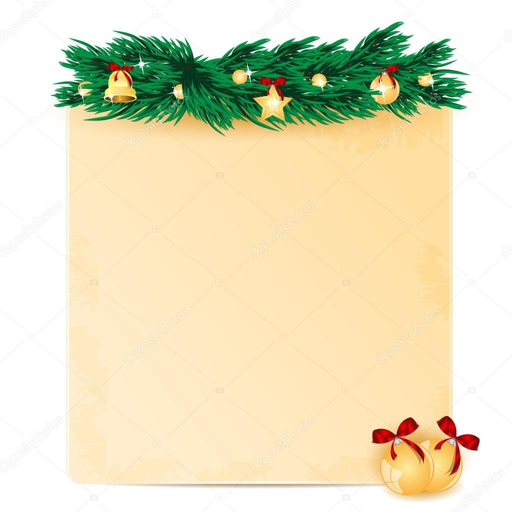 Hoja de papel decorado con abeto navidad y rama for Imagenes de papel decorado