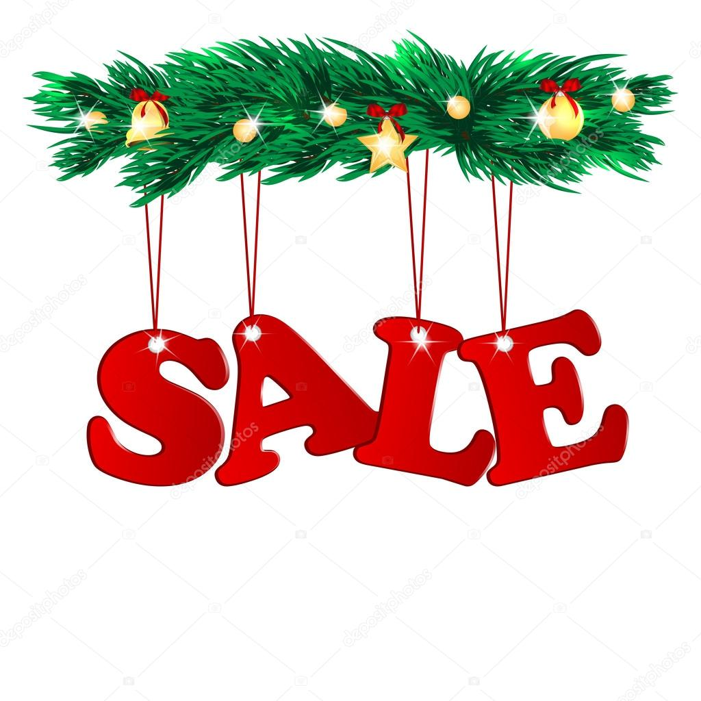 Word sale decorated with christmas tree branches.seasonal ...