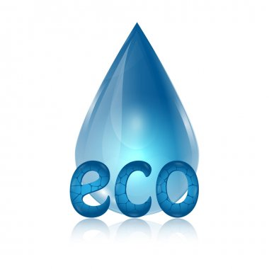 Drop of blue and eco word on white background.eco icon.vector