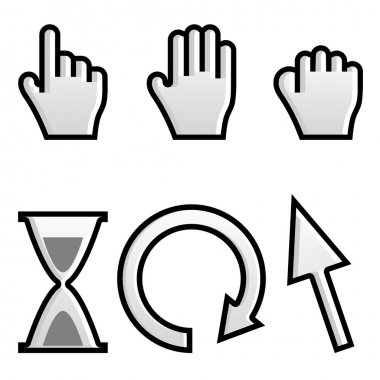 Web hand and arrow cursor with hour-glass.vector
