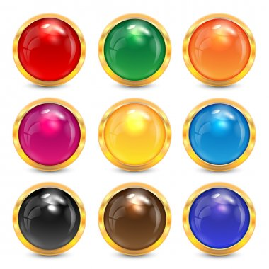 set multicolored glass buttons in a gold frame.colorful buttons