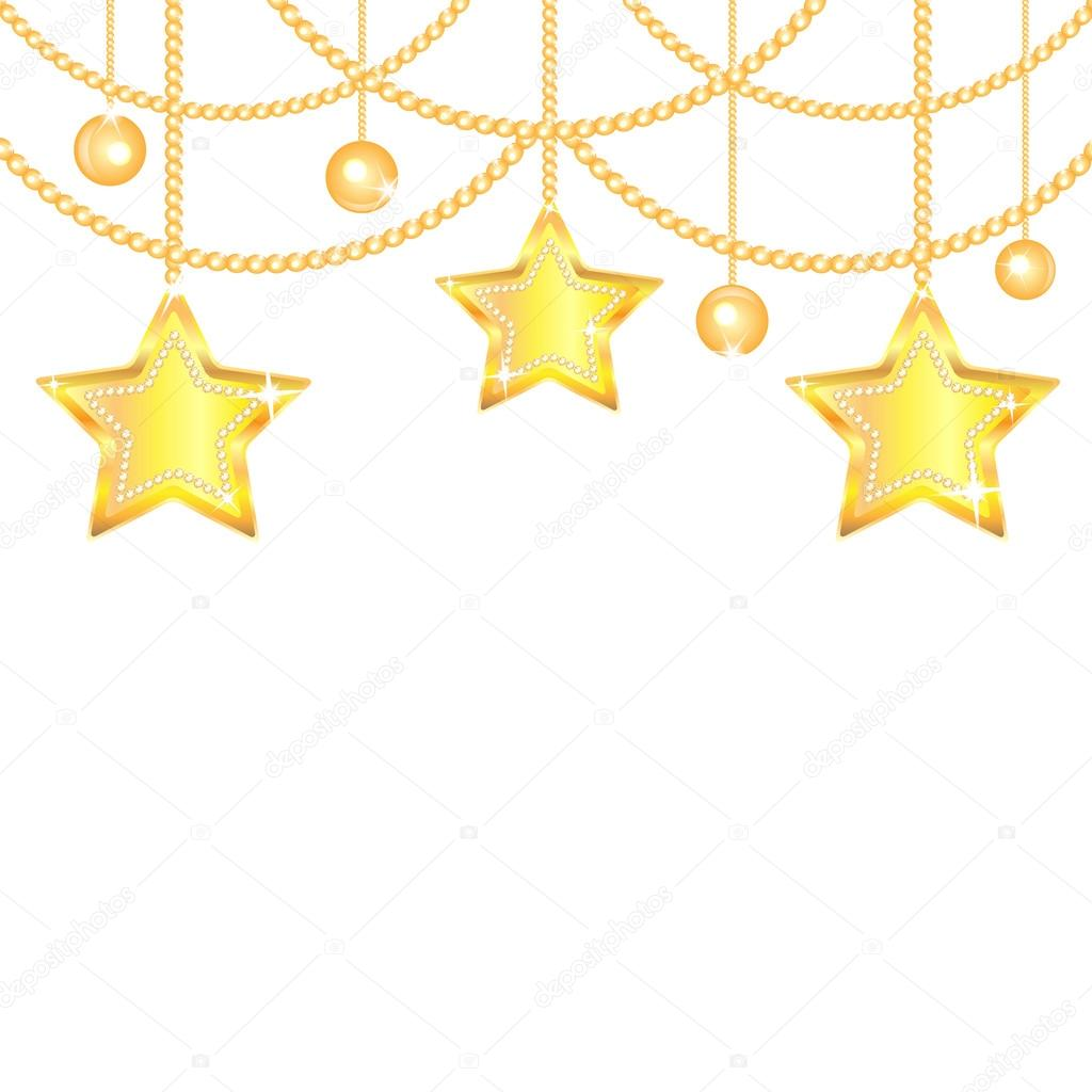 Gold star ornaments - Christmas Background Gold Stars And Balls Isolated On White Background New Year Golden Ornaments Tree Toys Vector Vector By Natashapetrova
