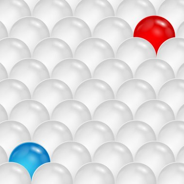 Abstract background of gray and blue and red spheres.abstractio