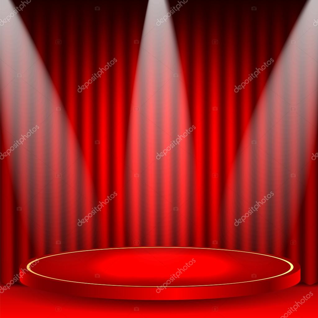 theatrical background.scene and red curtains.scene illuminated f