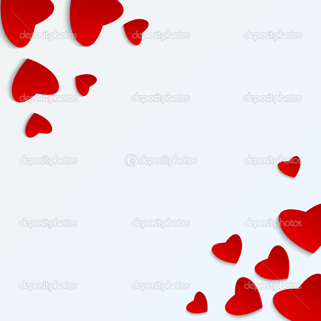 Cuore di day.red di San Valentino su un background.hearts bianco di  dimensioni diverse di paper.vector di base \u2014 Vettoriali di natashapetrova