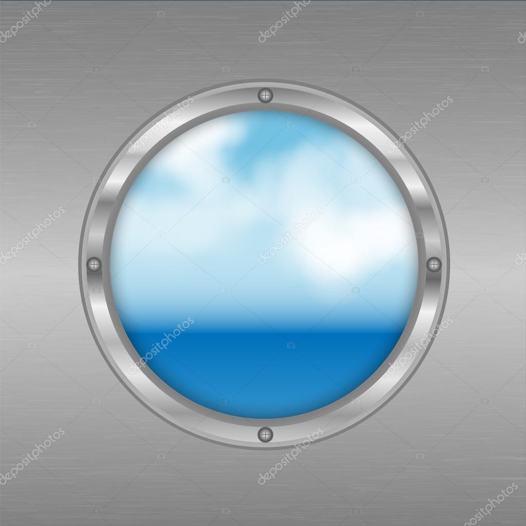 porthole with a view of the sea.sky and ocean outside the window