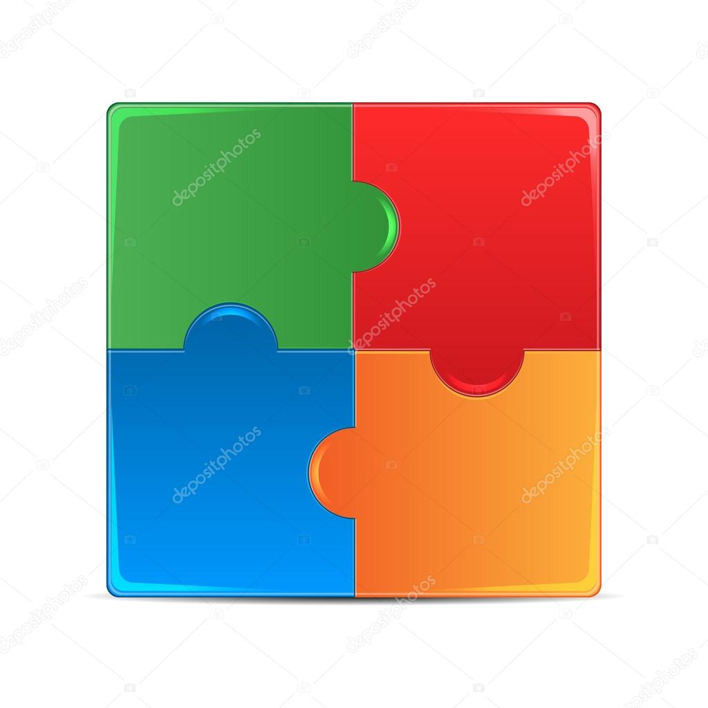 Colorful puzzles isolated on white background.puzzle of differen
