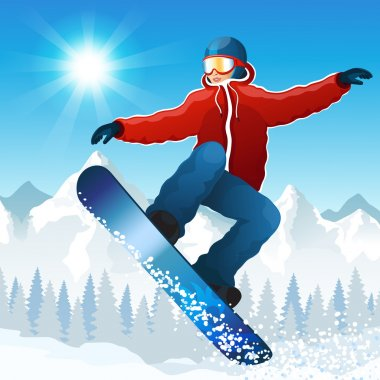 Vector illustration with the young snowboarder against mountains stock vector