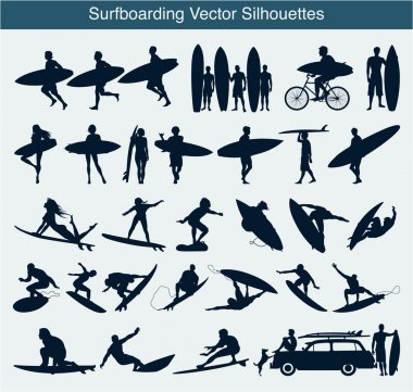 Surfboarding vector silhouettes