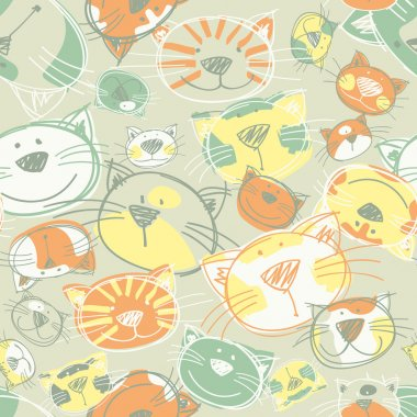 Cute Kittens seamless pattern