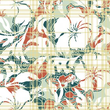 Hibiscus flowers seamless pattern