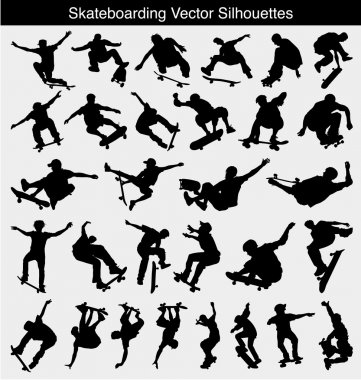 Collection of 30 different skateboarder silhouettes stock vector