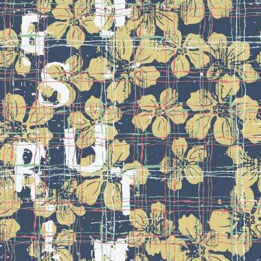 Grunge Hibiscus flowers seamless pattern