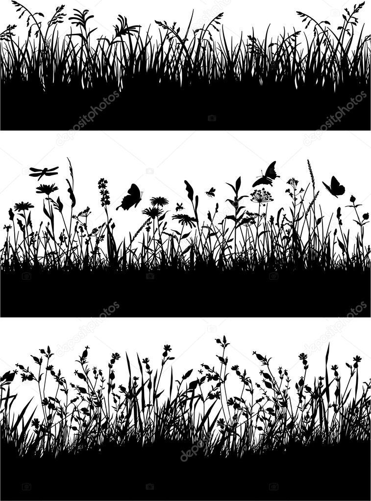Flowery meadow silhouettes wallpaper