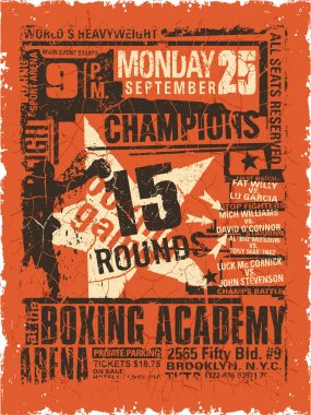 Boxing match vintage poster